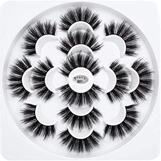 False Eyelashes,H HOME-MART 7 Pairs of 6D Faux Mink Fake Eyelashes Fluffy, Crossed Cluster Lashes Natural Long Reusable Ey...