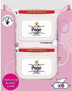 Page Vochtig Toiletpapier - Sensitive Maxipack - 456 Stuks (6 x 76 Stuks) - Voordeelverpakking