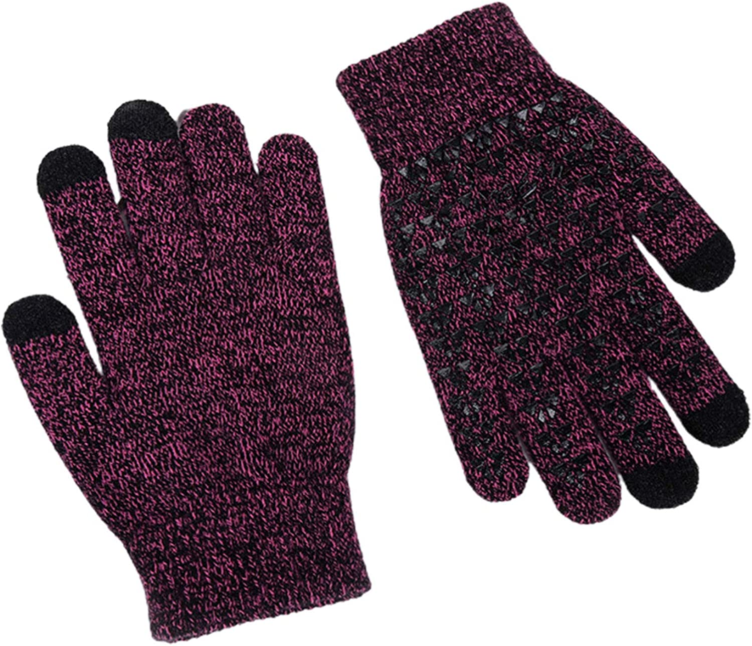 Unisex Winter Gloves Knit Anti-Slip Touchscreen Texting Glove Silicone Warm Thermal Soft Lining Mittens