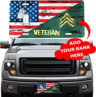 Personalized Custom Veteran Rank License Plates Frame Front Car Accessories Military Afghanistan Iraq Vietnam War US Army Navy Marine Air Force Gifts for Dad Mom Wife Husband Son Daughter Grandpa