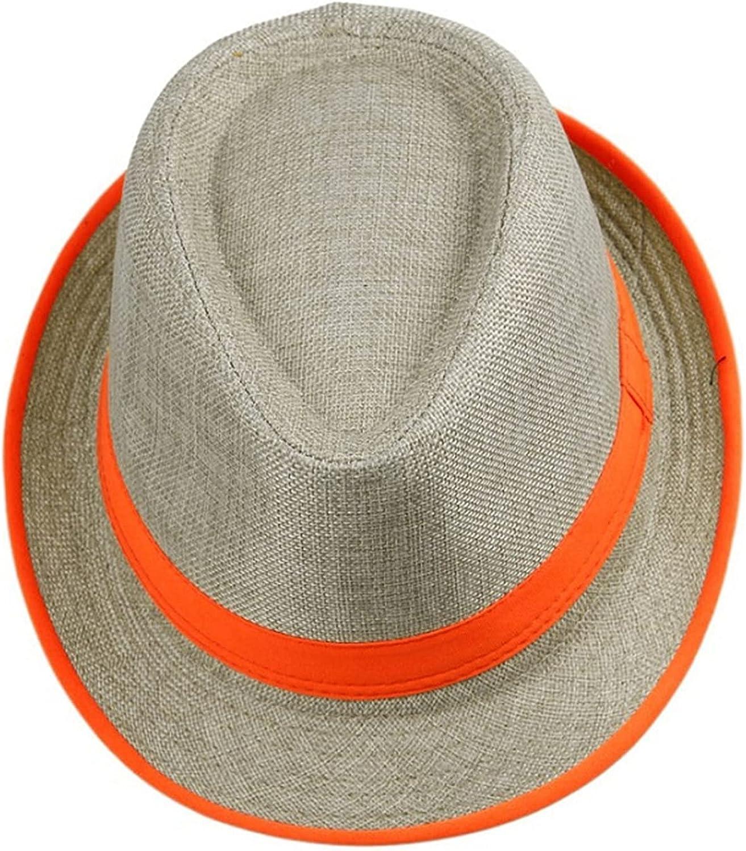 Women Mens Unisex Neon Brim Fedora Trilby Gangster Cap Summer Beach Hat Boho Sun Straw Chapeu De Praia Panama Hat