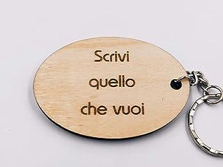 ArtigianeriA - Portachiavi in legno, personalizzato con testo a scelta. Incisione realizzata a laser in Italia. Idea regal...