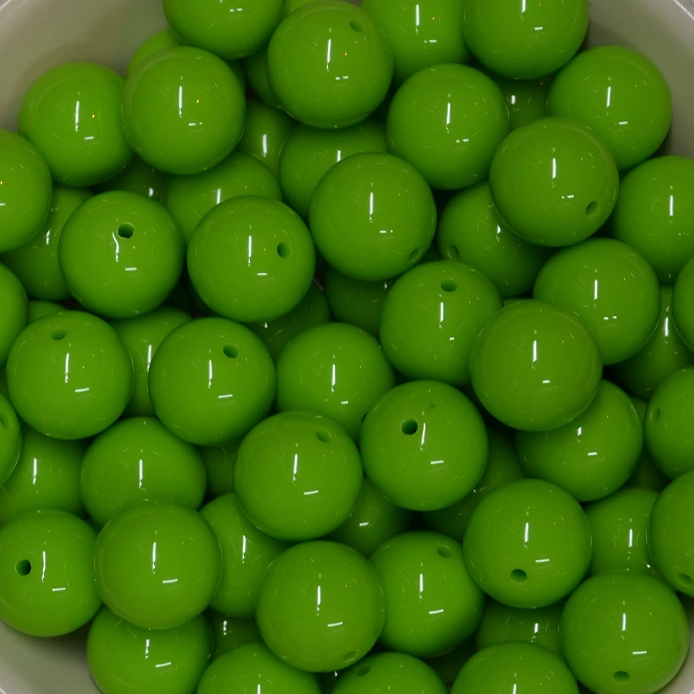 20mm Bulk Package 50 Lime Green Solid Acrylic Chunky Bubblegum Beads Loose Gumball Beads Lot