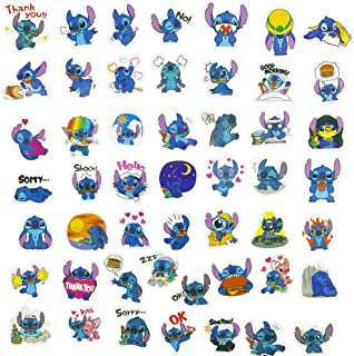 Lilo&Stitch Laptop Stickers 50Pcs Pack, Cartoon Water Bottle Travel Case Computer Wall Skateboard Motorcycle Phone Bicycle Luggage Guitar Bike Stickers Decal for Kids and Teen
