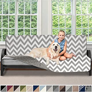 Sofa Shield Original Patent Pending Reversible Futon Slipcover, 2 Inch Strap Hook, Seat Width Up to 70 Inch Washable Furniture Protector, Futons Slip Cover Throw for Pets, Kids, Futon, Chevron Gray