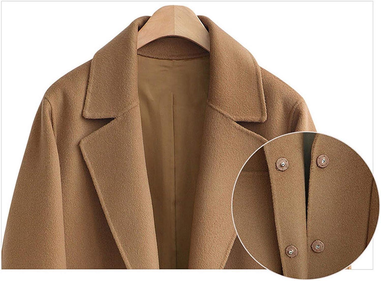 Minetom Winter Mantel für Damen Lang Wollmantel Trenchcoat Elegant Warm Parka Jacke Blazermantel mit Reverskragen Taschen Wintermantel Große Größe A Schwarz