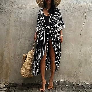 Houshome Capa de biquíni feminino com gravata tingida às riscas com cinto de segurança quimono cardigã vestido folgado mai...