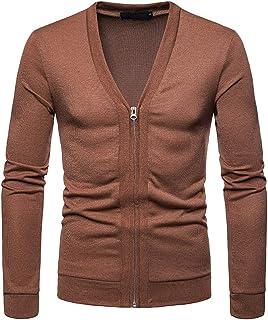 VANVENE Mens Casual Zipped Cardigan V Neck Knitted Cardigan