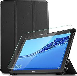 IVSO Protector de Pantalla con Funda para Huawei MediaPad T5 10, Slim PU Protectora Carcasa Cover para Huawei MediaPad T5 ...