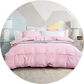 2018 New Minimalist Pure Style Home Textiles Bedding Set Bed Linen Set,Pink,Full