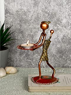 CraftVatika Metal Lady Tealight Candle Holder for Home Decoration Tea Light Candle Holders Stand for Home Living Room Offi...