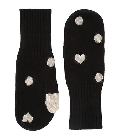 J.Crew Cashmere Dot Mitten (Black/Natural) Dress Gloves