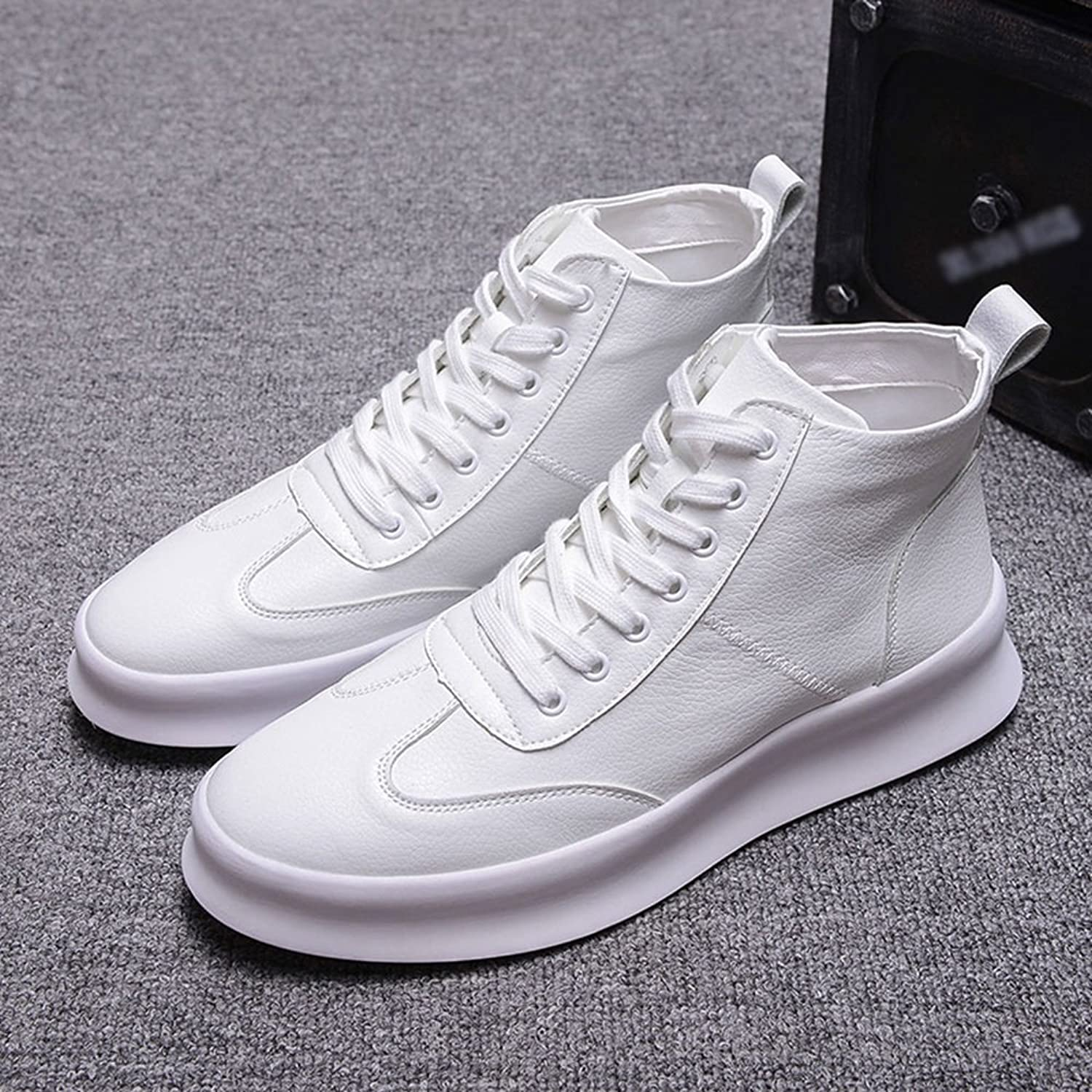 Feifei Men's shoes Spring and Autumn Fashion High Help Casual shoes 3 colors (color   White, Size   EU39 UK6 CN39)