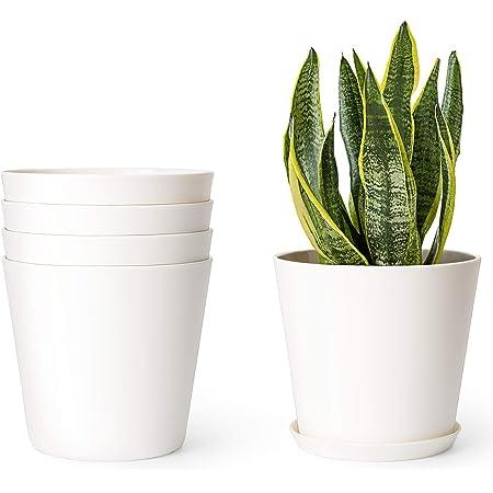 Beige 16.5cm Diameter Plastic Flower Pot Plant Planter Home Office Garden Decor
