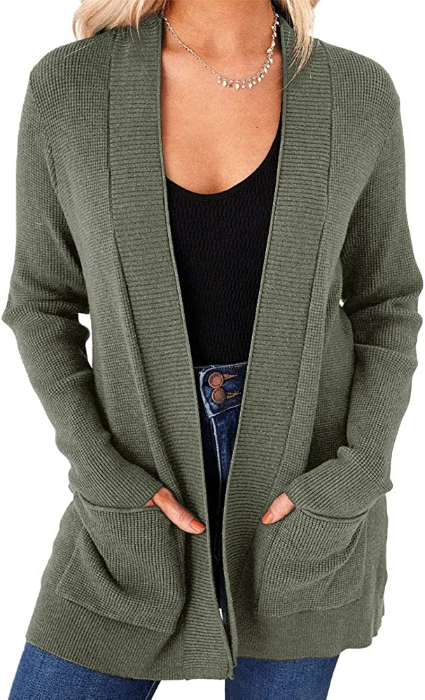imesrun Womens Open Front Cardigans Casual Long Sleeve Classic Knit Sweater Outerwear with Pockets