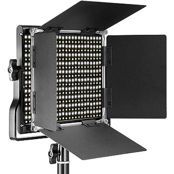 Neewer Professional Metal Bi-color LED Video Luz Regulable para Estudio YouTube Retrato Producto Fotografía Vídeo Shooting con Macro Durable y 660 Bombillas, Soporte U y Parasol, 3200-5600K, CRI 96+
