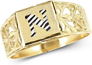 lovebling 10KイエローゴールドダイヤモンドカットレディースAlphabet Initialリング、ブロックレタリング( N )