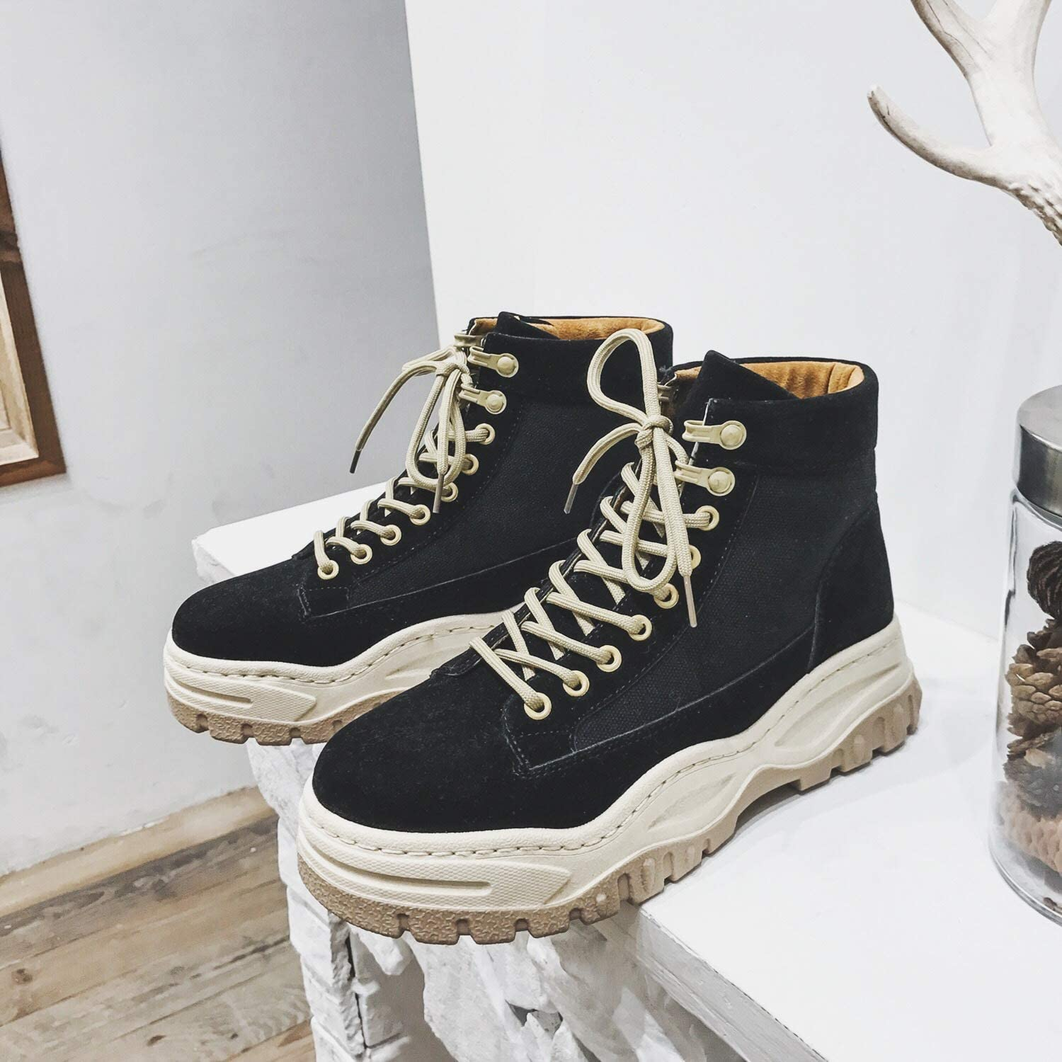 LOVDRAM Boots Men's Thick Winter High Boots Martin Boots Increase Casual Tooling shoes Men'S shoes