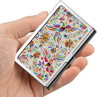 Mexican Colorful Ornate Ethnic Seamless Pattern Personalized Business Card Case Modern Business Card Holder Professional Metal 3.81x 2.7 X 0.29 Inches Business Card Holder Outside