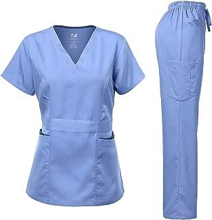 Women's Scrubs Set Stretch Ultra Soft Contrast Pocket