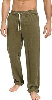 Hazelwood Men's Linen Pants with Comfy Elastic Drawcord Waistband