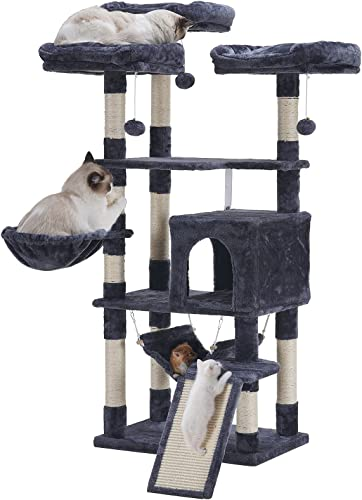 Hey-brother Multi-Level Cat Tree, Large Cat Tower with Bigger Hammock, 3 Cozy Perches, Scratching Posts, Stable for Kitten/Gig Cat