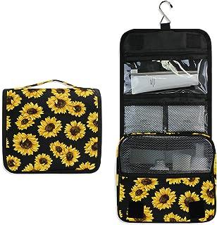 AUUXVA Travel Hanging Toiletry Bag Flower Sunflower Pattern Portable Cosmetic Make up Bag case Organizer Wash Gargle Bag W...