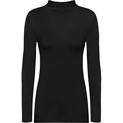 beb1df03f137ca WearAll New Ladies Turtle Neck Long Sleeved Stretch Plain Polo Top Womens  Jumper 8-14