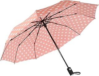 "Agaric Cute Polka Dots Compact Travel Umbrella - 10 Ribs Windproof Umbrella, 46"" Auto Open/Close Portable Umbrella with Reinforced Canopy and Ergonomic Handle (Pink)"