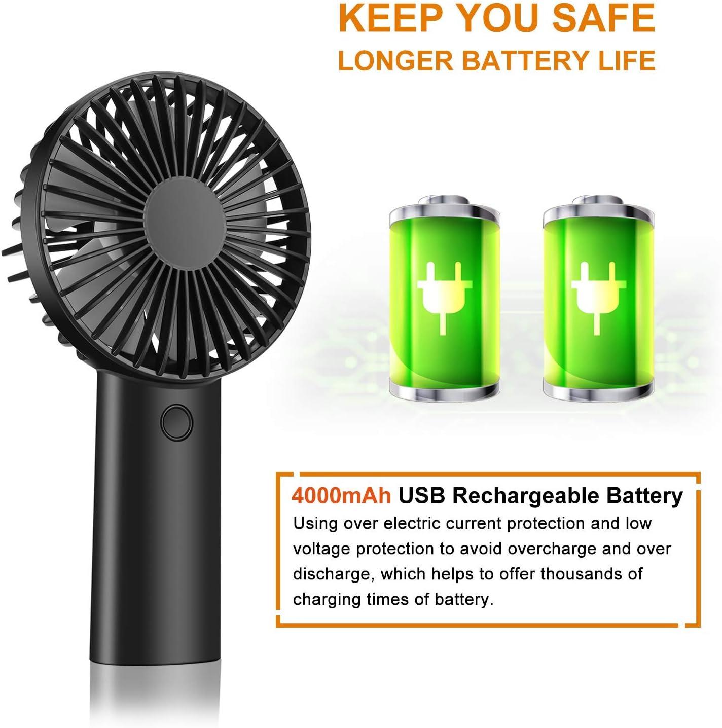 Ventilateur /à Main Voyage Mini Ventilateur USB Poche Ext/érieur Rose clair 4000 mAh Rechargeable Batterie avec 3 Vitesses R/églable Silencieux Portatif Personnel Ventilateur pour Maison Bureau