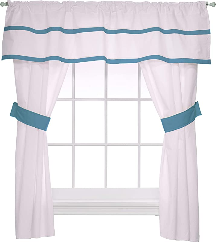 Baby Doll Medallion 5 Piece Window Valance And Curtain Set Aqua