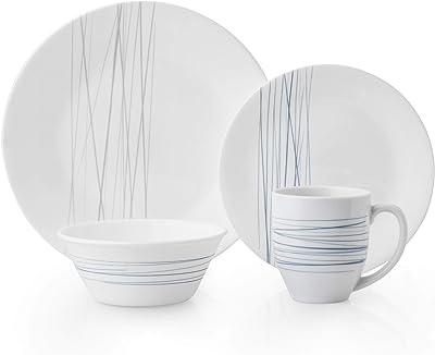 Corelle Silver Strands Chip & Break Resistant 16pc Dinner Set, Service for 4, Vitrelle glass