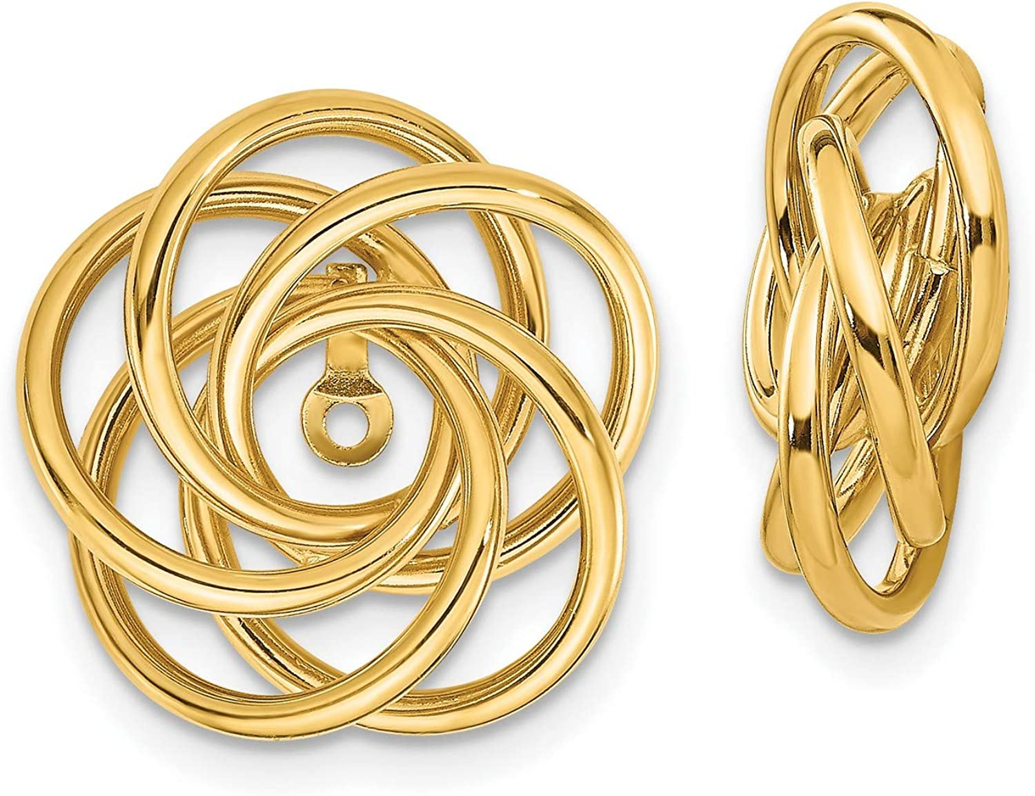 14k Yellow Gold Polished Love Knot Earring Jackets 17x15 mm