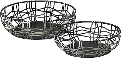 Zinc Decor Modern Round Metal Bowls Fruit/Bread Baskets