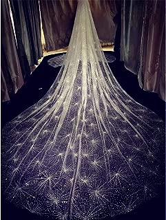 cici store 3M One-Layer Bridal White Trailing Long Wedding Veil, Glitter Rhinestone Luxury Starry Sky Bridal Veil