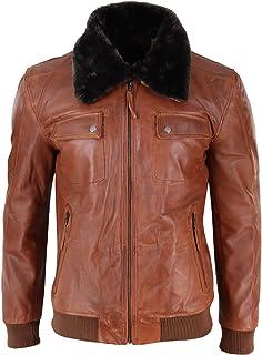 Aviatrix Mens Washed Rust Tan Brown Removable Fur Collar Pilot Leather Jacket Slim Fit