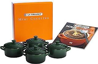 Le Creuset Stoneware Set of 4 Cocottes w/ Mini-Cocotte Cookbook, 8-Ounce Each, Artichaut