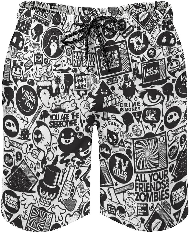 Men's Swim Trunks Long Board Shorts Beach Swimwear Bathing Suits with Pockets, Retro Black White Trippy Art
