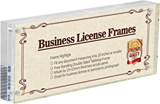NIUBEE 4x10 Business License Frame, Clear Acrylic Panoramic Photograph Picture Frame with Gift Box Package, Double Sided Frameless Photo Display (4×10 inch)