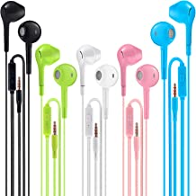 Sponsored Ad - Earbuds Headphones with Microphone Pack of 5, Noise Isolating Wired Earbuds, Earphones with Powerful Heavy ...