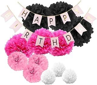 Paper Jazz Paper pom pom Happy Birthday Banner for Diva Birthday Party hot Pink Black White (DAR Pink)