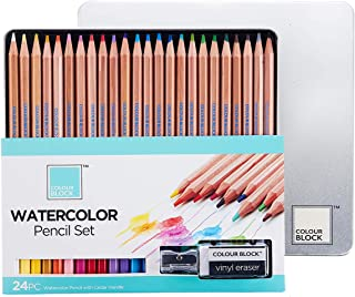 COLOUR BLOCK Watercolor Pencil Set - 24 PC, 24 Watercolor Pencils with Premiun Cedar Handle and Bonus Vinyl Eraser and Sharpener in a Tin Storage Box.