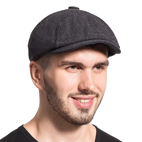 Leucos Ticte Gatsby Newsboy Hat Men Women Classic Herringbone Tweeb Flat Cap