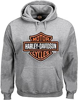 Men's Pullover Sweatshirt, Bar & Shield Hoodie, Gray...