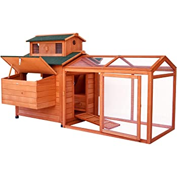 """LAZY BUDDY Chicken Coop, 70"""" Wooden Chick Cage with 2 Hen Nesting Boxes, Indoor and Outdoor Use Chicken House with Waterproof Roof for Chicken and Other Pets (Extra Large)"""