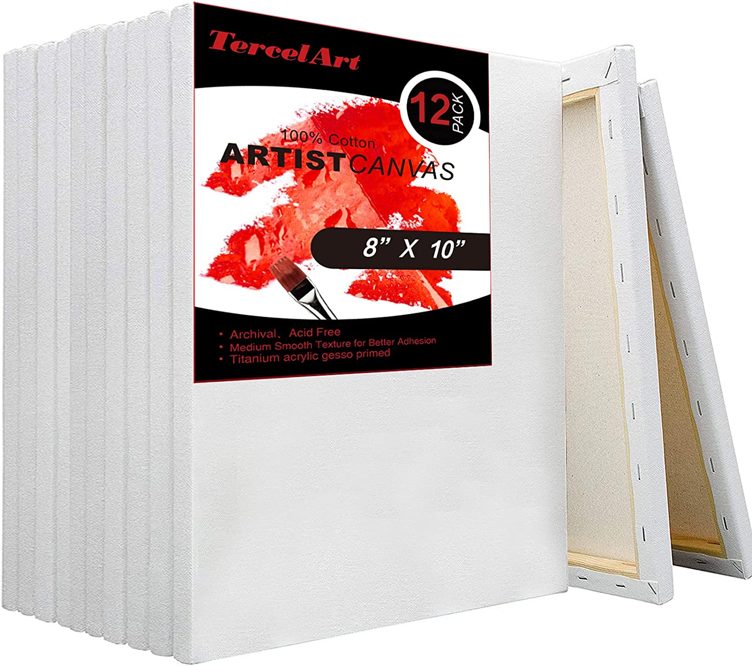 TercelArt Stretched Canvas Pack of 12 for P Clearance Cheap super special price SALE Limited time 8x10 Inch Canvases