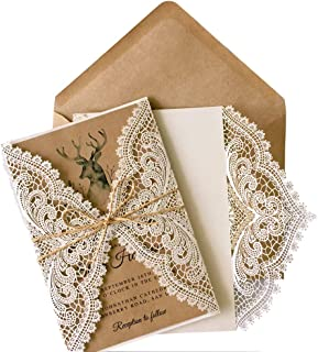Picky Bride 50Pcs Vintage Lace Wedding Invitations Rustic Wedding Invites with Kraft Paper Insert Cards - Set of 50 pcs (Blank Wedding Invitations)
