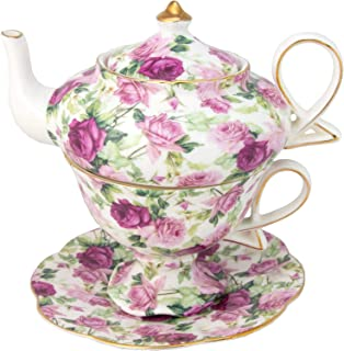 Gracie China by Coastline Imports 4-Piece Porcelain Tea for One, Stacked Teapot Cup..