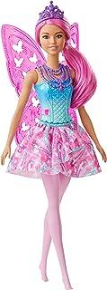 Barbie Dreamtopia poupée fée aux cheveux roses, avec ailes et diadème, jouet pour enfant, GJJ99