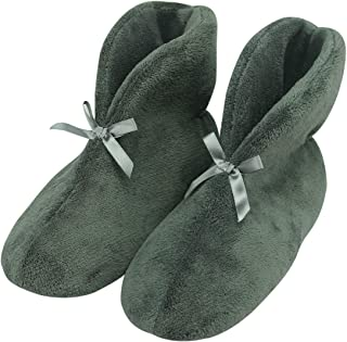 Forfoot Women's Bootie Slippers, Winter Warm Cozy Coral Fleece Non Slip Indoor House Shoes
